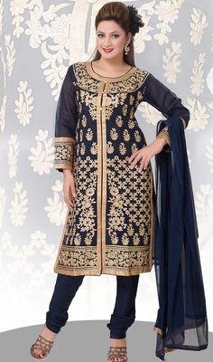 Look exquisitely elegant attired in this blue color embroidered chanderi silk churidar kurta. The incredible attire creates a dramatic canvas with extraordinary lace, resham and patch work. #LatestNavyBlueStraightCutSilkDress
