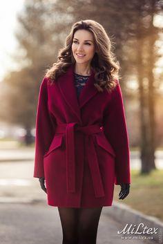 Пальто кимоно, карманы клапаны, винный. Арт.399