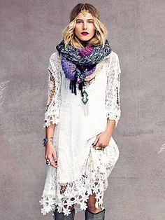 Mi Amore Lace Dress, love the dress would change the scarf and those boots into something more tasteful!