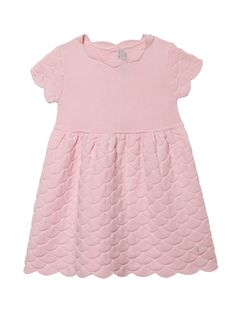 Rose Dior dress made from a finely knitted cotton and cashmere blend with smart knit pattern on the sleeves and on the widely flared skirt. The cute baby dress presents wave-shaped edges, designing a festive piece.