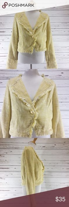 "{CABI} NWT Daisy Yellow Tweed Jacket Size Large NWT Yellow Tweed Jacket with fringed edges by CAbi.  Two front pockets.  Slightly crop style .  Perfect for falls  NWT.  Extra button included .  All measurements taken flat .  Size Large measurable shoulder to hem 19"", armpit to armpit 19"". CAbi Jackets & Coats Blazers"