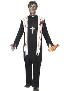 You can buy a Men's Zombie Priest Costume Set for Halloween from the Halloween Spot. This black costume includes Blooded Top, Latex Wound, Collar & Trousers. Halloween Outfits, Priest Costume, Horror Halloween Costumes, Halloween Fancy Dress, Cool Costumes, Adult Costumes, Halloween Party, Halloween Zombie, Costume Ideas