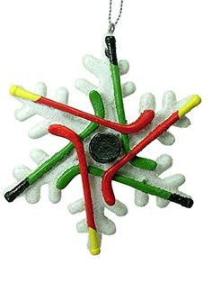 Hockey Stick Puck Player Sport Snowflake Christmas Tree Ornament By Midwest