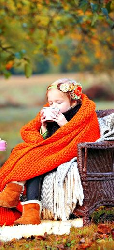 sipping hot chocolate on a crisp autumn day, bundled up all snug and cozy in a fabulous wicker chair One of my Fall board favourites! Autumn Day, Autumn Leaves, Autumn Girl, Autumn Harvest, Hello Autumn, Foto Baby, Fall Drinks, Holiday Drinks, Seasons Of The Year