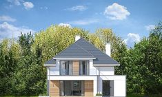 Elewacja tylna projektu Oszust 2 Morden House, Home Fashion, Exterior Design, House Plans, Sweet Home, Places To Visit, Cabin, House Styles, Projects