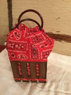 Vintage Red Bandana Fabric Sewing Basket Handbag Box Purse by RickettyAttic on Etsy