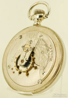 Waltham vintage pocket watch, 18 Size, 17 Jewels, handsome smooth polish silver-toned case (movement view). $225, on Etsy.