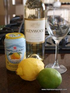 Citrus White Wine Spritzer - for when you want a little wine without overdoing it.  1 750 ml bottle of white wine (Chardonnay or Sauvignon Blanc), 12 ounces of lemon flavored sparkling water, 6 thinly sliced wedges of lemon, 6 thinly sliced wedges of lime