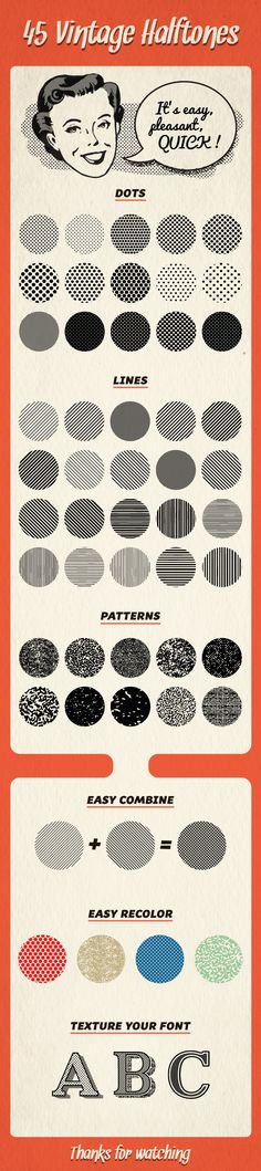 45 Halftones Pattern - Textures / Fills / Patterns Illustrator Ultimate Graphics Designs is your one stop shop for all your Graphics And Video Solutions! Web Design, Graphic Design Tips, Retro Design, Flat Design, Tool Design, Graphic Design Inspiration, Vintage Pattern Design, Vintage Graphic Design, Retro Pattern