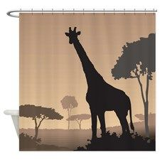 Giraffe Silhouette Shower Curtain