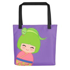 Look cute while grocery shopping with one of our tote bags!!! Chinese Horoscope Snake Kokeshi - Tote bag