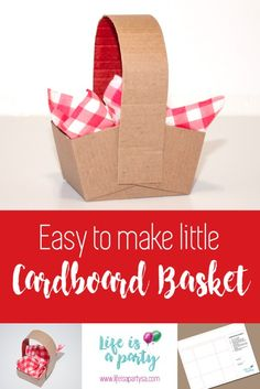 Need a little basket for your party theme? This easy to make little cardboard basket is just what you need. Template and steps included. Easter Crafts For Kids, Diy For Kids, Picnic Basket Crafts, Diy Party Packs, Red Riding Hood Party, Little Red Ridding Hood, Kids Picnic, Diy Birthday Cake, Bear Party