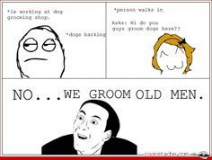 "Dog groomer meme. My favorite is when I'm walking through PetSmart with my ""PetSmart"" smock on and someone says ""Do you work here?"""
