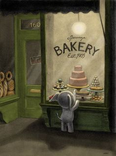 Illustration: elephant at bakery window. I would love this kind of artwork for a child's room...so sweet and whimsical.