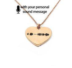 Sterling silver soundwave necklace rose gold plated,waveform necklace,custom sound wave pendant, sonogram ultrasound - Ship by DHL EXPRESS