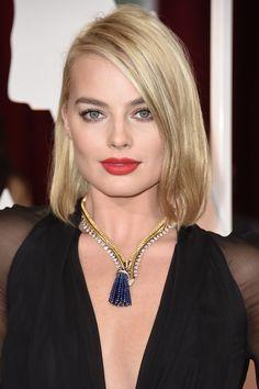 Margot Robbie wore Hourglass Opaque Rouge Liquid Lipstick in Raven.   - HarpersBAZAAR.com