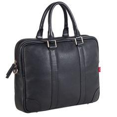 """Bennie Briefcase: Men's Leather Briefcase (D: 2.2"""")"""