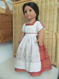 American Girl doll - Mexican chemisa, skirt and apron for dolls like Josefina by ExquisitelyUpcycled on Etsy