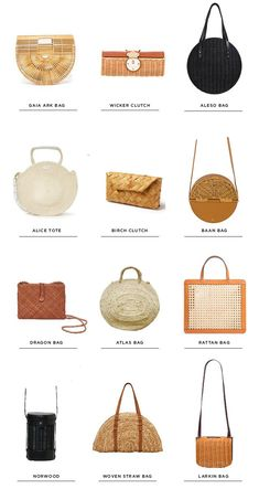Bags & Handbag Trends : woven bag - round up - wicker bag - rattan - Sarah Sherman Samuel - Flashmode Best Useful Tips: Wicker Purse Red wicker porch spaces.Staggering Useful Tips: Wicker Baskets Illustration wicker bench settees.Wicker S Boho Clutch, Diy Clutch, Fashion Plates, Fashion Bags, Fashion Outfits, Diy Pochette, Bag Women, Diy Sac, Round Bag