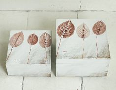 SET of 2  hand painted boxes  autumn leaves  by AnamarkoCute, $65.00