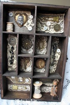 Antique Treasures Cabinet of Curiosities OOAK Mixed Media Art, via Etsy.