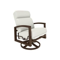 Tropitone Lakeside Swivel Lounge Rocking Chair with Cushions Fabric: Canvas Natural, Finish: Greco