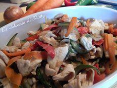 #Secondo piatto di #straccetti di pollo #con verdure