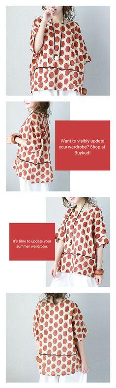 Summer Loose Short Sleeves Women Orange Dot Shirt