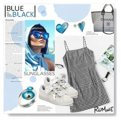 """Blue & Black"" by giampourasjewel ❤ liked on Polyvore featuring Chanel, Puma, romwe, RetroSunglasses and greekislands"