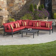 Creating the patio of your dreams starts with outdoor seating that adds style and charm to your space - like the Astoria 6 piece Sectional and Table in Cantina!