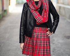 "Red Royal Stewart Plaid Pleated Skirt~plus size custom make skirts~Christmas skirts~Party Prom Wear Skirt~16"" to 18"" Long Skirt@sohoskirts - Edit Listing - Etsy"