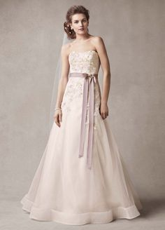 Tulle Melissa Sweet Wedding Dress with Two Toned Skirt - Dark Antique Mauve, 16