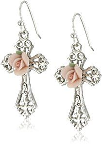 The Vatican Library Collection Rose Cross Earrings  http://electmejewellery.com/jewelry/religious-jewelry/religious-earrings/the-vatican-library-collection-rose-cross-earrings-com/