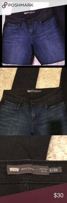 Two toned  Levi's mid rise jeans This jeans has 2 shades front is blue n dark navy on back side. Mid rise skinny jeans . Very comfortable Never worn Levi's Jeans Skinny