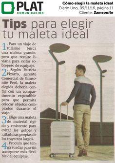 Samsonite: Consejos para elegir la maleta ideal en Diario Uno de Perú (09/11/16)