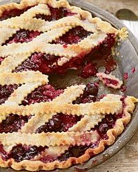 Cherry-Berry Pie Pastry chef Paula Haney buys produce at the farmer's market, including the cherries for her stellar pies. Cherry Berry Pie Recipe, Cherry Recipes, Tart Recipes, Fruit Recipes, Dessert Recipes, Raspberry Recipes, Summer Recipes, Delicious Recipes, Summer Pie