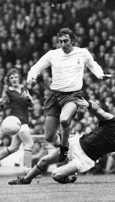 February Tottenham Hotspur centre forward Martin Chivers at his marauding best against Third Division Aston Villa in the League Cup Final, at Wembley.