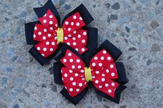 2 Minnie Mouse Hair Bows  Red and Black Minnie Mouse by innavert, $5.00