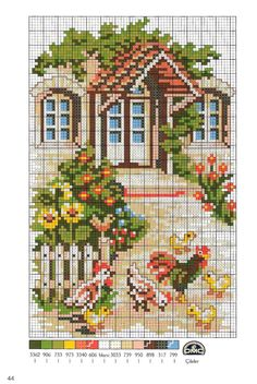 Вышивка крестом домики схемы разнообразных построек