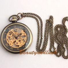 Vintage Brass Steampunk Skeleton Mechanical Pocket Watch Necklace. $18.00, via Etsy.