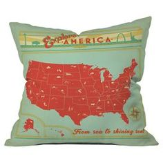 Add a pop of color to your favorite chaise or arm chair with this lovely pillow, showcasing a retro-chic US map motif and typographic accents.  Product: PillowConstruction Material: Polyester coverColor: Light blue and salmonFeatures:  Insert included Designed by Anderson Design Group for DENY DesignsHandmade  Cleaning and Care: Machine washable cover