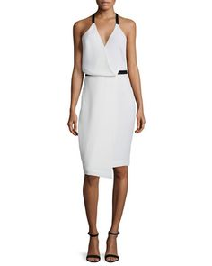 Sleeveless+Faux-Wrap+Dress,+White+by+Camilla+and+Marc+at+Neiman+Marcus.