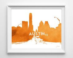 Austin Texas Congress Ave UNFRAMED PRINT skyline cityscape watercolor Ink art print urban chic UT University of Texas Longhorns, All Sizes