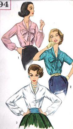 1950s Misses Secretary Blouses (Simplicity 2194).