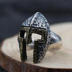 Men's Sterling Silver Spartan Helmet Ring