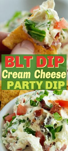 BLT cream cheese dip with crispy bacon, juicy tomatoes and crisp lettuce and tangy mayo. Perfect dip for parties or an appetizer for a crowd. Appetizers For A Crowd, Appetizer Dips, Healthy Appetizers, Appetizer Recipes, Appetizer Party, Italian Appetizers, Lunch Snacks, Dip Recipes, Cooking Recipes