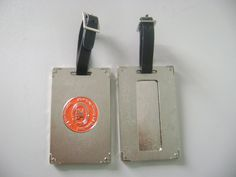 Custom metal laggage tag, with black plastic belt. Engraved custom logo on the back. More info, please contact Dustin (dustincy@gmail.com)