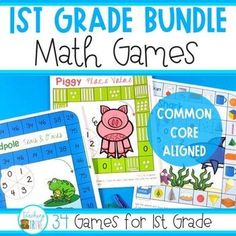 This huge math game bundle of math centers for 1st grade (aligned with the Common Core) is easy to prepare. Each board game requires very little prep – there is no cutting involved. Laminate if you wish or simply place in a page protector. All you need is a pencil and paper clip to make a spinner and some game markers.The math centers will cover the following concepts: place value, addition, subtraction, measurement, fractions, money, and shape.