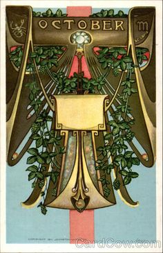 October - Scorpio. Astrology, Horoscope- Victorian Vintage Post Card. Art Nouveau.