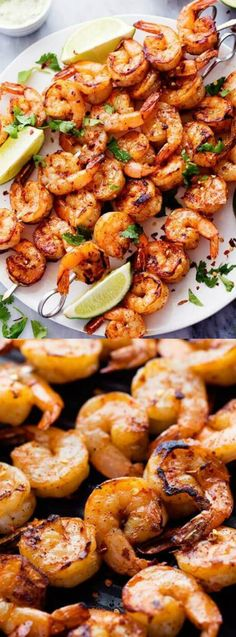 This Grilled Spicy Lime Shrimp with Creamy Avocado Cilantro Sauce recipe from…